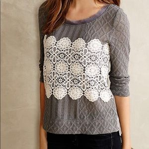 🐣 ANTHROPOLOGIE MEADOW RUE LACY OVERLAY SWEATER